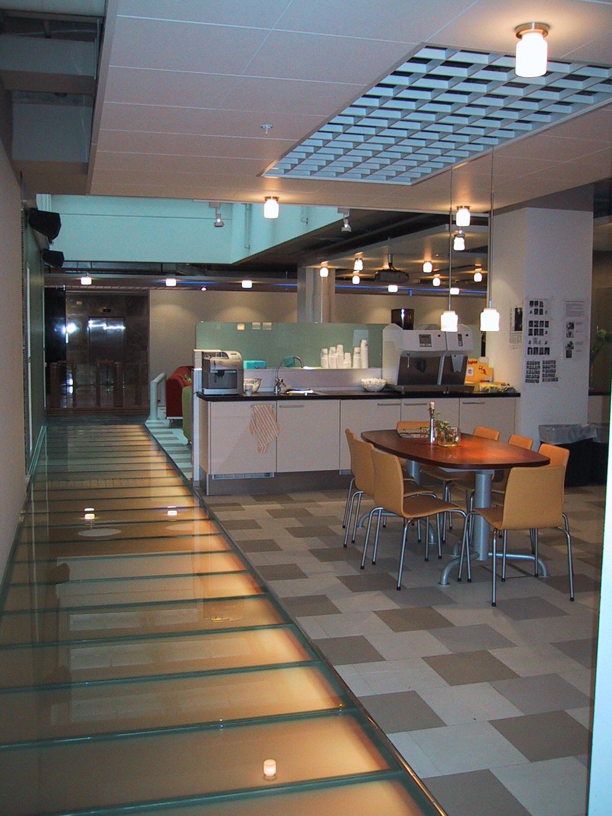 JPG 1300 Tube Under Glass Floor And Aqua Blue Indirect 1 IBM Building Stockholm Sweden